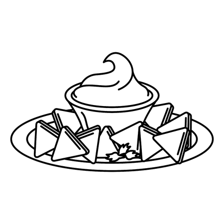 delicious nachos with sauce vector illustration design Vectores