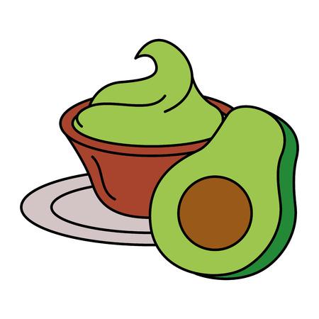 Fresh avocado with guacamole sauce vector illustration design