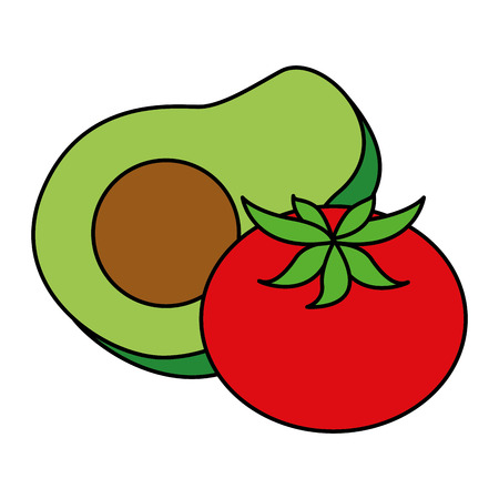 fresh avocado with tomato vector illustration design
