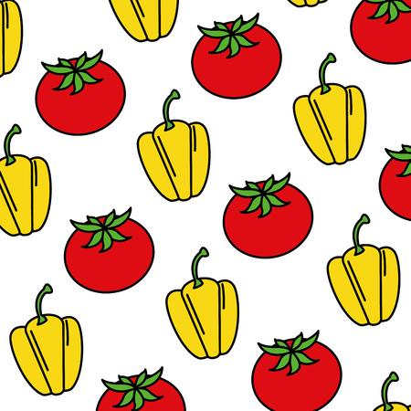 fresh pepper and tomato vegetables pattern vector illustration design Illustration