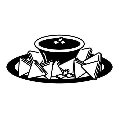 delicious nachos with sauce vector illustration design 일러스트