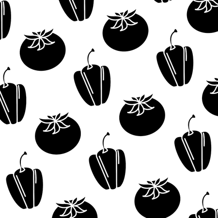 fresh pepper and tomato vegetables pattern vector illustration design Ilustração