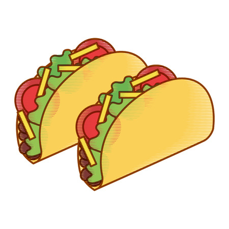 delicious mexican food tacos vector illustration design