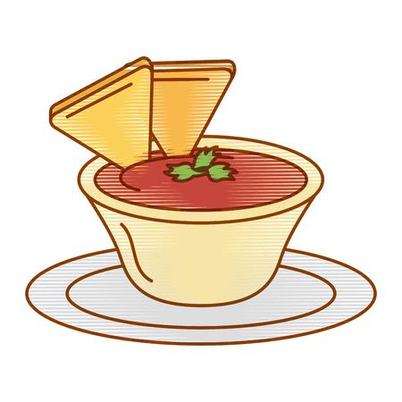 delicious nachos with sauce vector illustration design Illustration