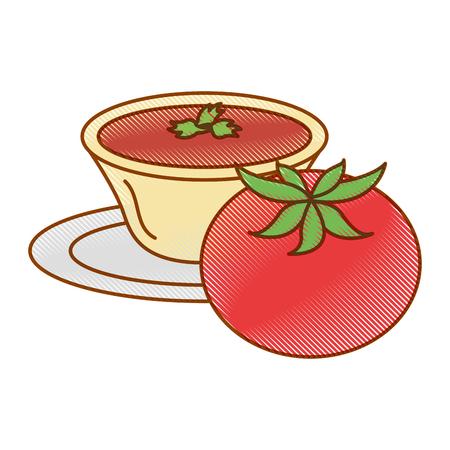접시 벡터 일러스트 레이 션 디자인에 소스를 가진 토마토 일러스트