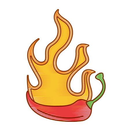 spicy chile vegetable with flames vector illustration design