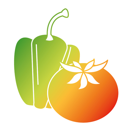 fresh pepper and tomato vegetables vector illustration design Ilustração