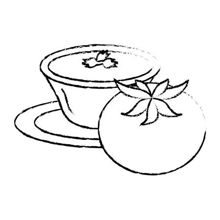 tomato with sauce in dish vector illustration design Illustration