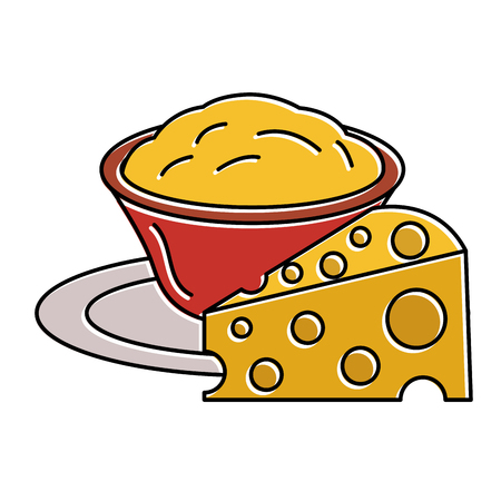 delicious cheese with sauce vector illustration design Ilustração