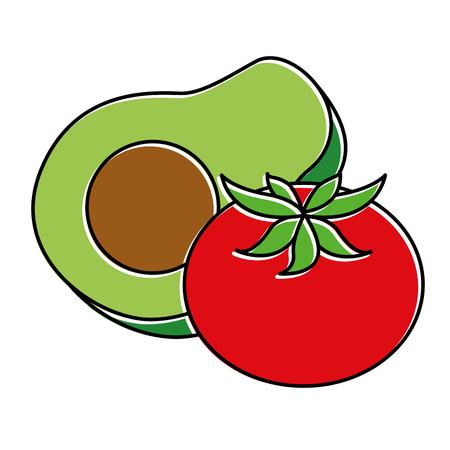 Fresh avocado with tomato vector illustration design Ilustração