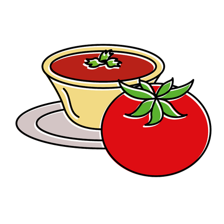 Tomato with sauce in dish vector illustration design Illustration