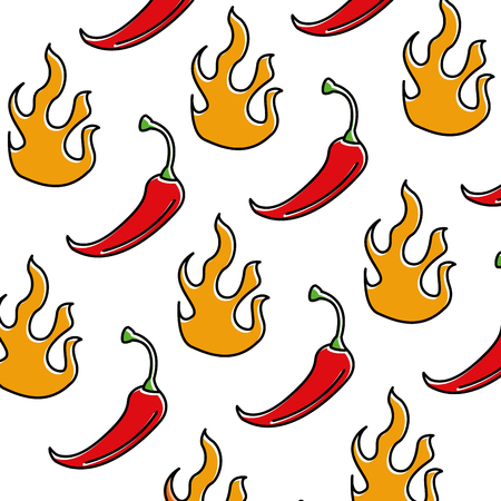spicy chile vegetable with flames pattern background vector illustration Illustration