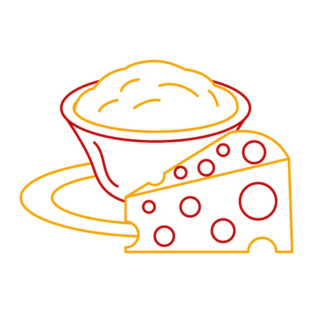 Delicious cheese with sauce vector illustration design