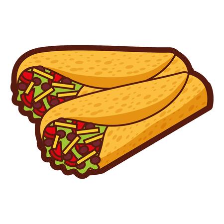 おいしいメキシコ料理ブリトーベクトルイラストデザイン  イラスト・ベクター素材