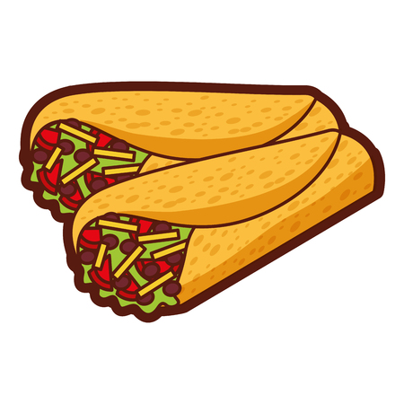 맛있는 멕시코 음식 버리 토 벡터 일러스트 레이션 디자인
