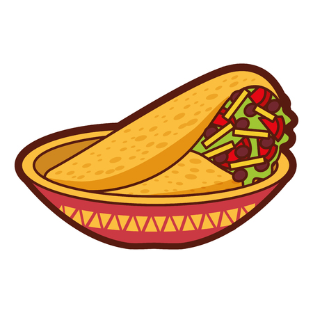 dish with delicious mexican food tacos vector illustration design