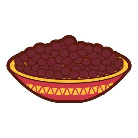mexican dish with beans fried vector illustration design