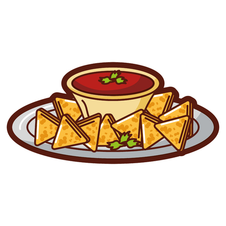 Delicious nachos with sauce vector illustration design Illustration