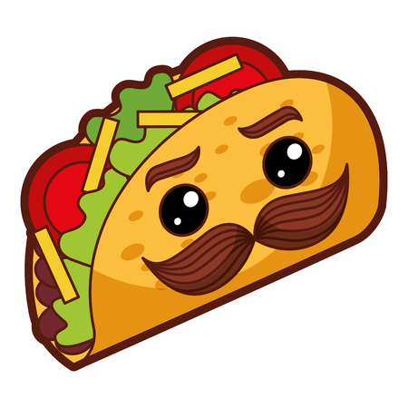 delicious mexican tacos with mustache  vector illustration design Stock Illustratie