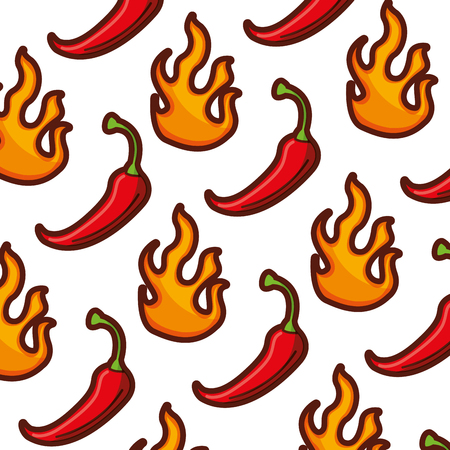 spicy chili vegetable with flames pattern background vector illustration Illustration