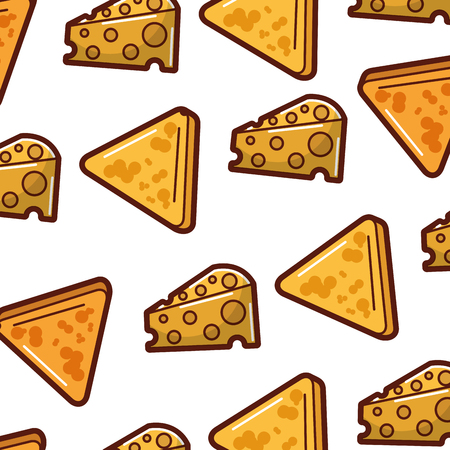 delicious cheese with nachos pattern background vector illustration design