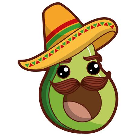 verse avocado met Mexicaanse hoed karakter vector illustratie ontwerp