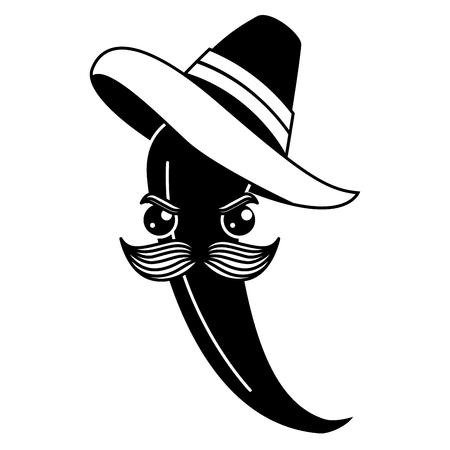 メキシコの帽子可愛いキャラクターベクトルイラストデザインのスパイシーチリ