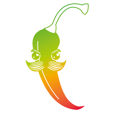 spicy chili with mustache  character vector illustration design