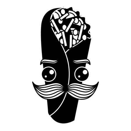 delicious mexican burrito with mustache  vector illustration design