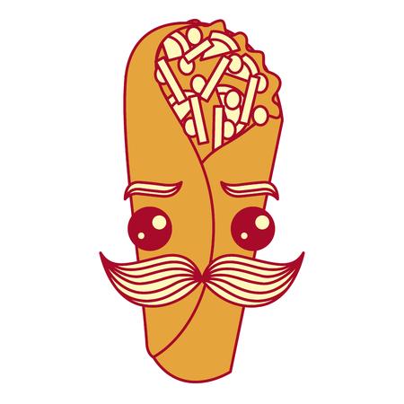 delicious mexican burrito with mustache   vector illustration design Ilustração