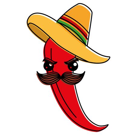 spicy chile with mexican hat character vector illustration design Illustration