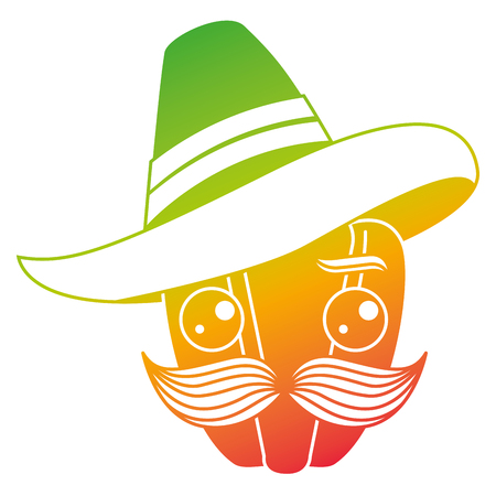 fresh pepper with mexican hat character vector illustration design