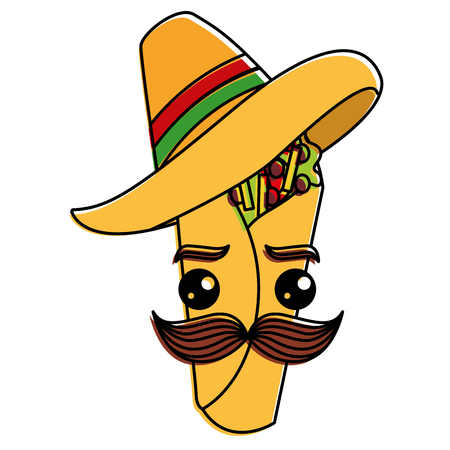 Delicious mexican burrito with mexican hat kawaii vector illustration design Illustration