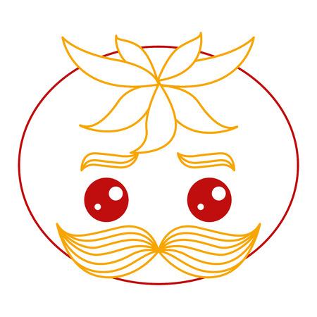 fresh tomato with mustache kawaii character vector illustration design