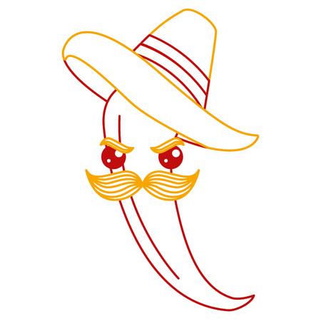 メキシカン ハット文字ベクトル イラスト デザインでスパイシーなチリ  イラスト・ベクター素材
