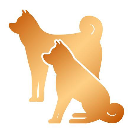 dogs mascots silhouettes icon vector illustration design