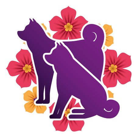 dogs mascots silhouettes with flowers vector illustration design
