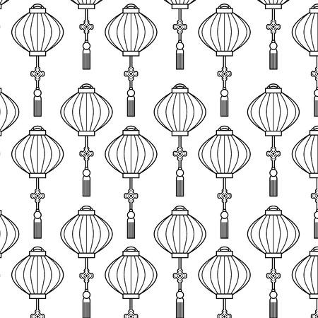 japanese lamp hanging pattern background vector illustration design