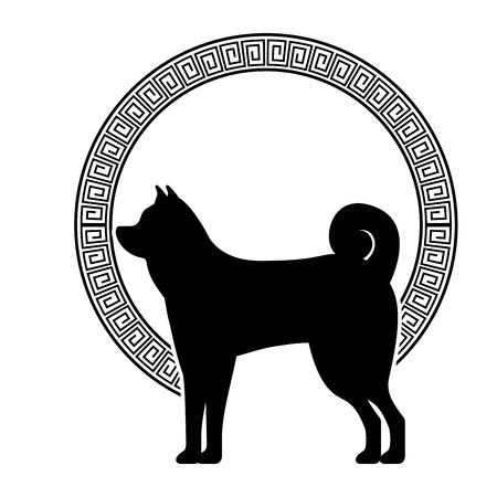 dog mascot silhouette icon vector illustration design