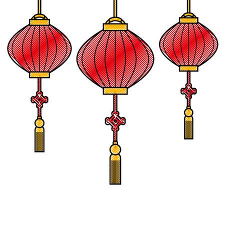 chinese lantens hanging decoration celebration vector illustration Illustration
