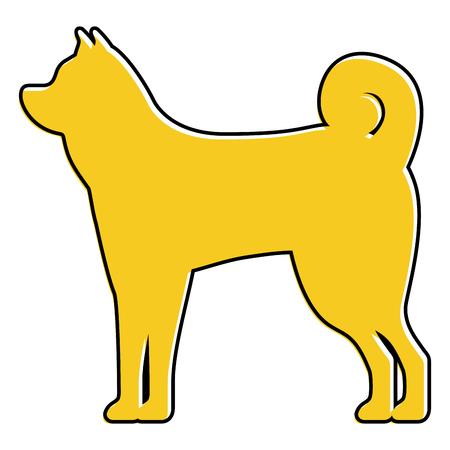 立っている犬動物 国内哺乳類ベクトルイラスト  イラスト・ベクター素材