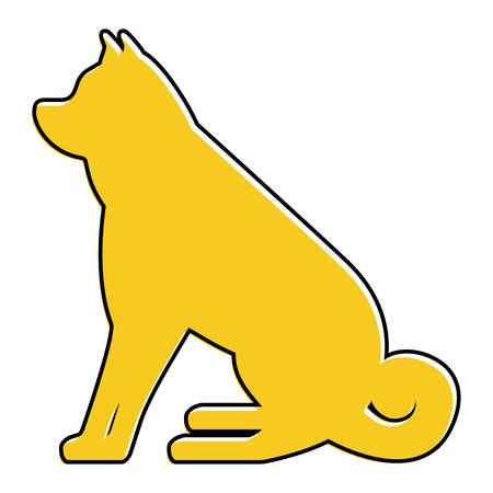 개 앉아 동물 국내 포유류 벡터 일러스트 레이션