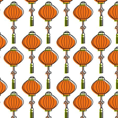 chinese lantern pattern beautiful decoration vector illustration