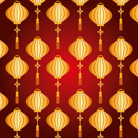 chinese lantern pattern beautiful decoration vector illustration