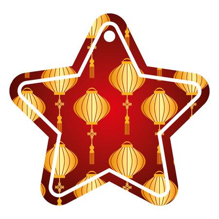 star tag japanese lantern decoration pattern vector illustration Illustration
