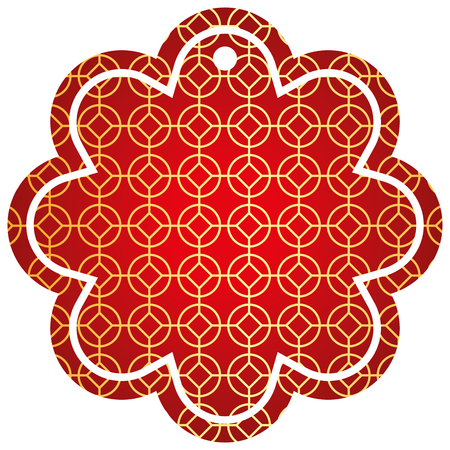 label flower chinese pattern rounded and rhombus vector illustration