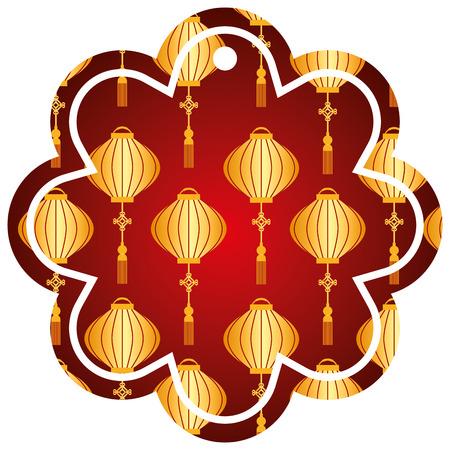 label flower chinese pattern lantern decoration vector illustration