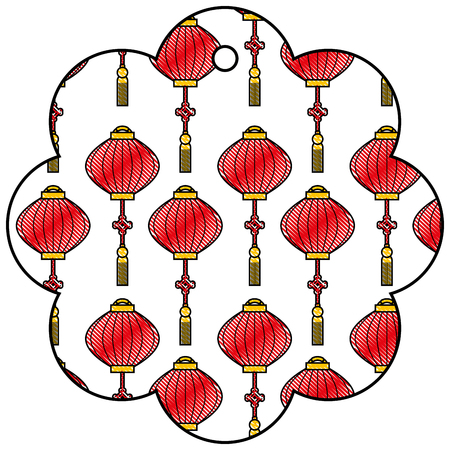 label flower chinese pattern lantern decoration vector illustration Stock Vector - 91915767