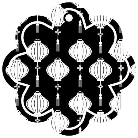 label flower chinese pattern lantern decoration vector illustration Stock Vector - 91915768