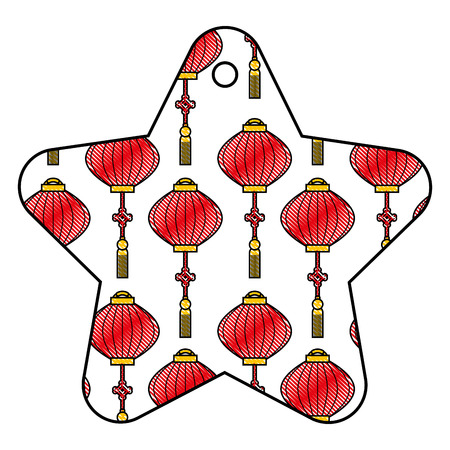 star tag japanese lantern decoration pattern vector illustration Ilustração